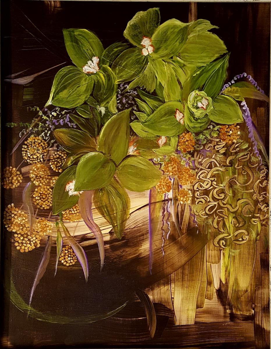 Pistachio Orchids, acrylics on canvas